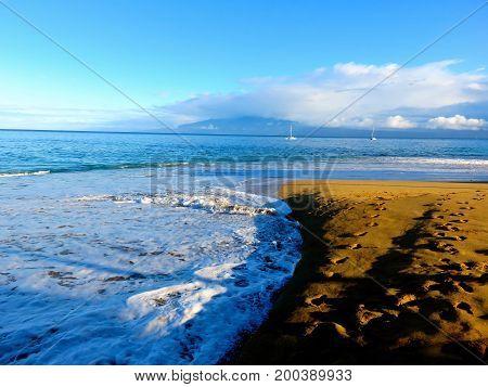 Tranquil Morning Walk on Kaanapali Beach, Lahaina, Maui, Hawaii.
