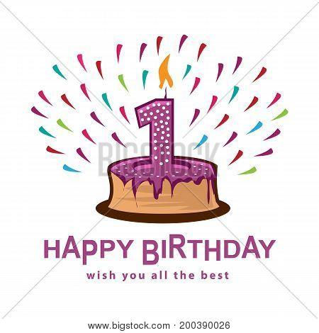 playful  birthday illustration, cake with number one, illustration design, isolated on white background