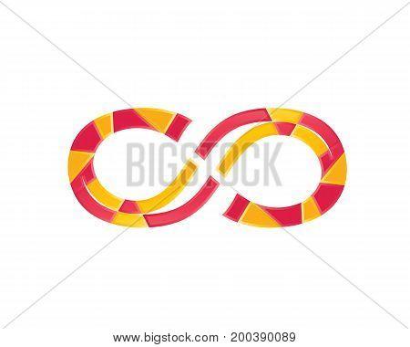 stylish infinity symbol, polygonal style, icon design, isolated on white background