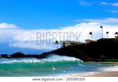 Spectacular Shore Break Pounds Kaanapali Beach, Lahaina, Maui, Hawaii.