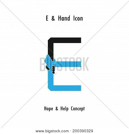 Creative E- alphabet icon abstract and hands icon design vector template.Business offerpartnershiphopesupport or help concept.Corporate business and industrial logotype symbol.Vector illustration