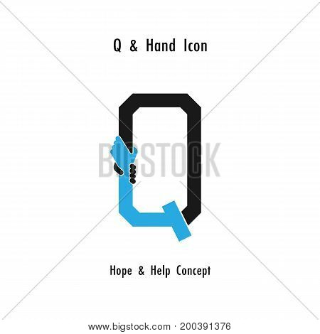 Creative Q- alphabet icon abstract and hands icon design vector template.Business offerpartnershiphopesupport or help concept.Corporate business and industrial logotype symbol.Vector illustration