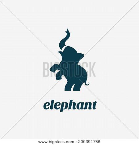 Elephant logo, label template design. Vector illustration.