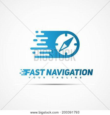 Fast navigation logo template design. Vector illustration.