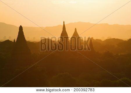 Orange sunset in the ancient Bagan. Burma