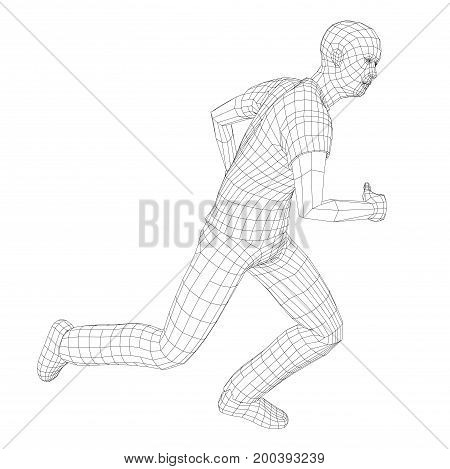 Wire frame running man. Vector rendering of 3d. Technology concept