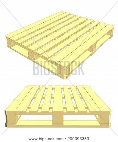 Set of wooden pallet on white background. EPS 10 vector format. Vector rendering of 3d