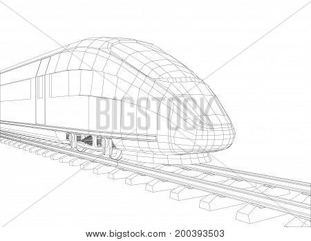 Abstract polygonal high-speed passenger train. Traveling concept. Vector rendering of 3d. Wire-frame style