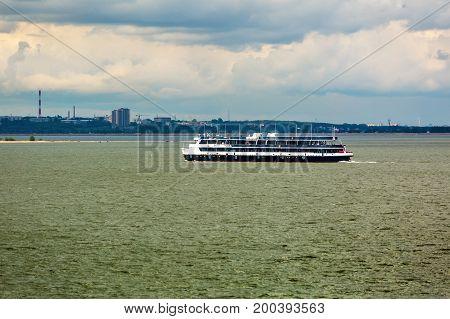 Ob reservoir Novosibirsk oblast Siberia Russia - August 19 2017: the Ship