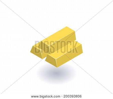 Gold bars icon vector symbol in flat isometric 3D style isolated on white background.