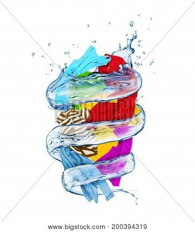 Colorful clothes rotates in a swirl of waterisolated on white background
