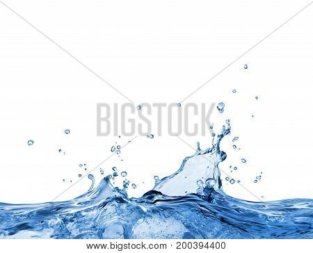 Splashes of blue oceanic water on a white background