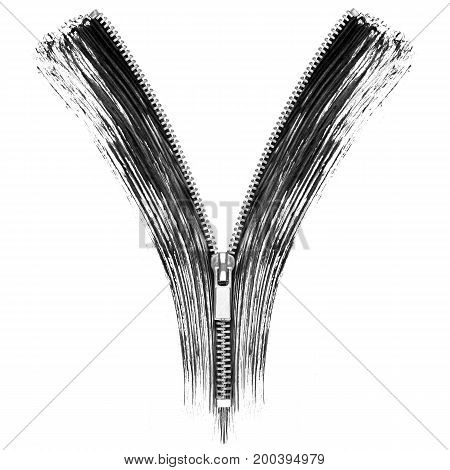 Mascara strokes with elements of zipper. Conceptual image isolated on white background