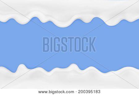 Streaks of milk on a blue background