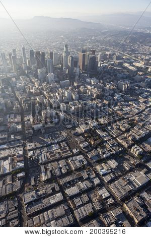 Los Angeles downtown summer afternoon aerial in Southern California.