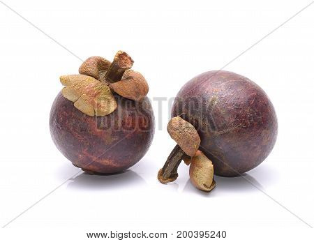 Mangosteen fruit isolated on white background in studio