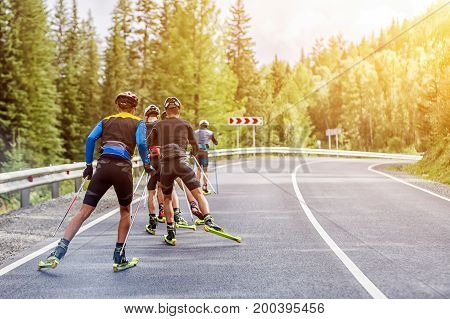 Team Biotlonists  Go On Roller Skis