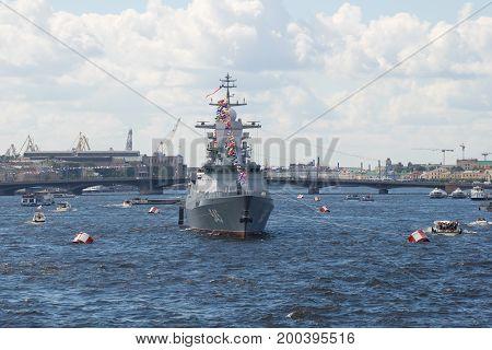 SAINT-PETERSBURG, RUSSIA - JULY 30, 2017: A patrol ship of the 2nd rank