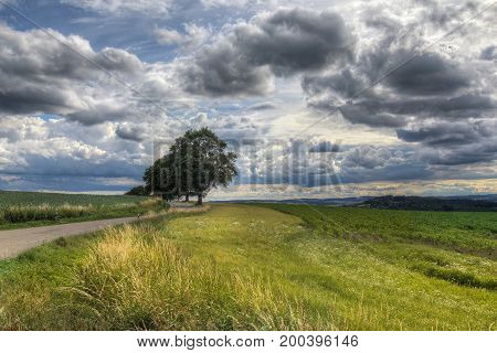 Image of the rural landscape with dramatic sky