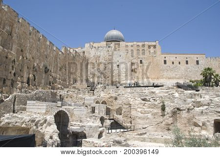 Exterior of Al-Aqsa Mosque on Temple Mount in Jerusalem, Israel