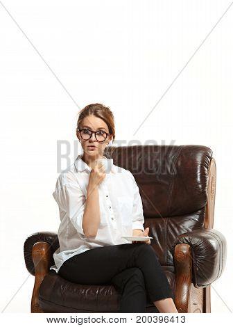 The attractive businesswoman have a coffee break