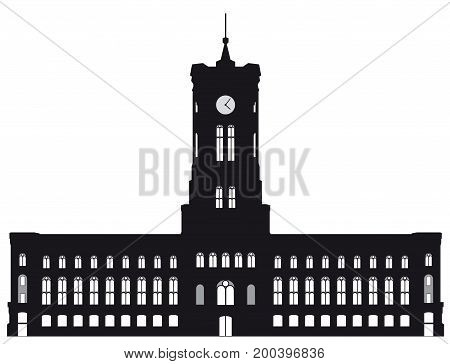 Black and white silhouette of the Berlin red town hall