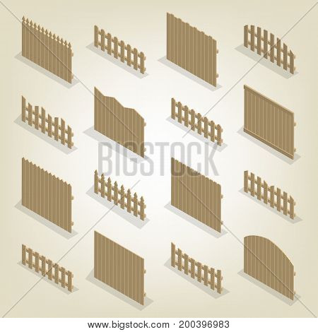 Set of spans wooden fences of various forms. Isolated on white background. Elements of buildings and landscape design. Flat 3D isometric style vector illustration.