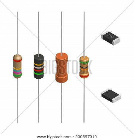 Set of resistors of different shapes isolated on white background. Elements design of electronic components. 3D isometric style vector illustration.