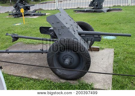 Moscow Russia - July 19 2017: 37-mm Pak 35/36 anti-tank Gun (Germany) on grounds of weaponry exhibition in Victory Park at Poklonnaya Hill.