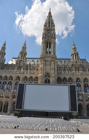 Vienna, Austria - August 2012: Vienna City Hall and a big screen with chairs for the Film Festival, in Vienna in June 2012