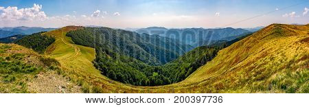 Gorgeous Panorama Of Alpine Mountain Ridge