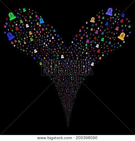 Grave fireworks stream. Vector illustration style is flat bright multicolored iconic grave symbols on a black background. Object fountain made from random design elements.