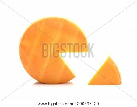 Wheel of traditional cheese isolated on white background