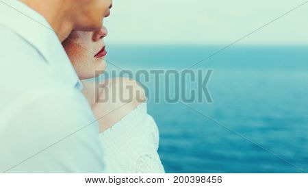 Enjoy The Summer. Young Man And Woman Standing By The Sea And Enjoying View. Enjoying Summer Together Concept