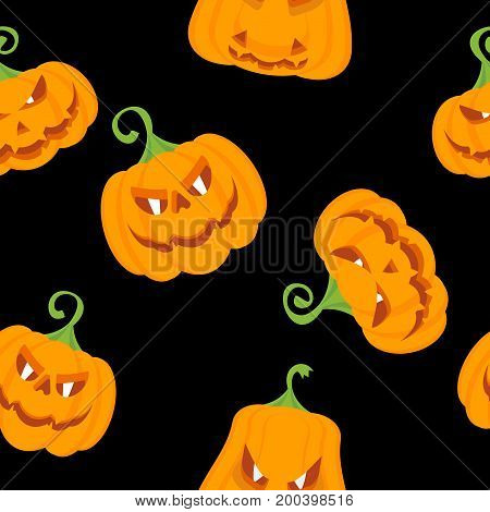 Seamless Pattern Color Pumpkins Black