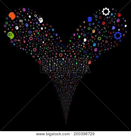Intellect Gears fireworks stream. Vector illustration style is flat bright multicolored iconic intellect gears symbols on a black background. Object fountain constructed from random icons.