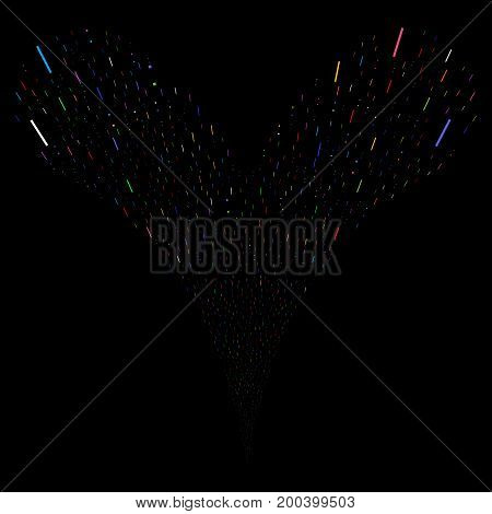 Lines And Dots source stream. Vector illustration style is flat bright multicolored iconic lines and dots symbols on a black background. Object fountain combined from random symbols.