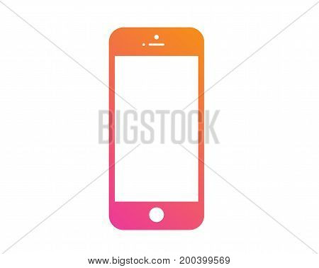 The Colorful gradient pink to orange flat smart phone icon