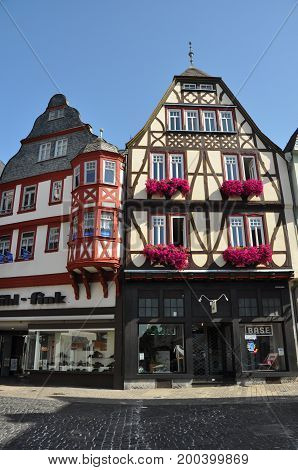 Limburg, Germany - August, 2012: Public square in the center of Limburg, Germany, a small city made of half-timbered houeses, in August 2012