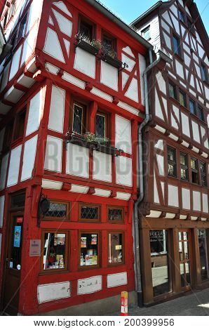 Limburg, Germany - August 19, 2012: some of Limburg's half-timbered houses, containing shops and restaurants, in August 2012