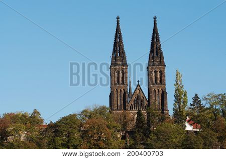 Vysehrad - Chapter Church of St Peter and Paul Prague - second seat of the Bohemian princes and kings