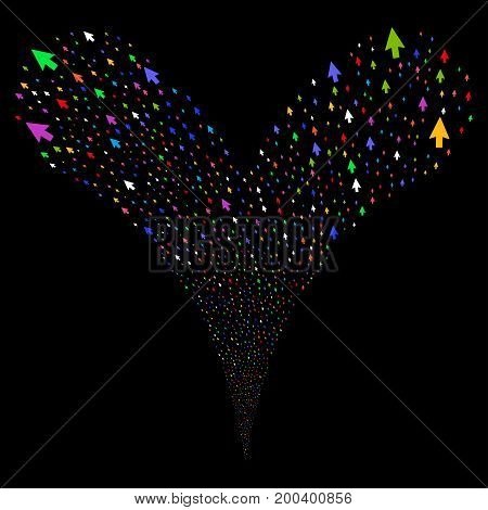 Mouse Cursor fireworks stream. Vector illustration style is flat bright multicolored iconic mouse cursor symbols on a black background. Object fountain organized from random pictographs.