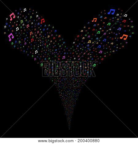 Music Notes salute stream. Vector illustration style is flat bright multicolored iconic music notes symbols on a black background. Object fountain organized from random pictographs.