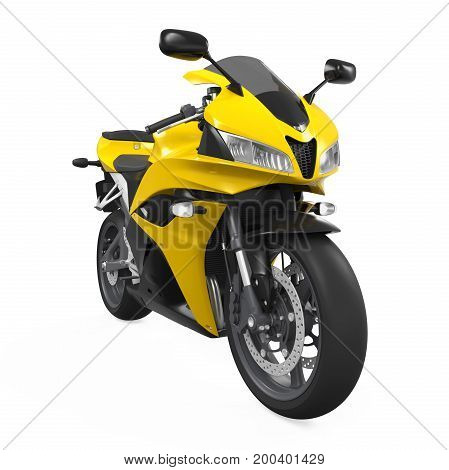 Yellow Motorcycle isolated on white background. 3D render