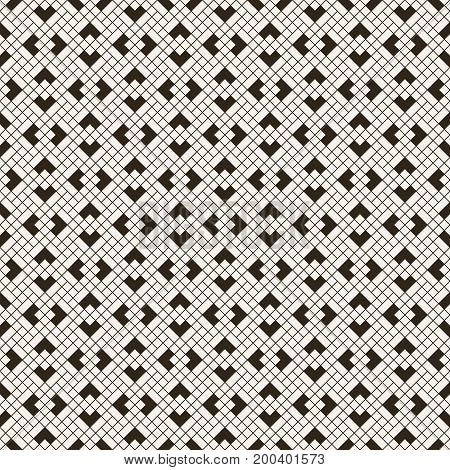 Vector seamless pattern. Modern stylish texture with intersecting thin lines which form regularly repeating tiled linear grid with rhombuses diamonds corners. Contemporary geometrical design.
