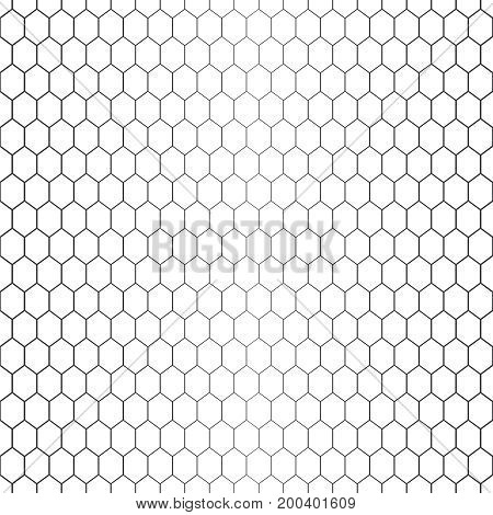 Vector seamless pattern. Abstract halftone background. Modern stylish texture. Repeating hexagonal grid with hexagons with decreasing contour thickness. Gradation from bigger to smaller.