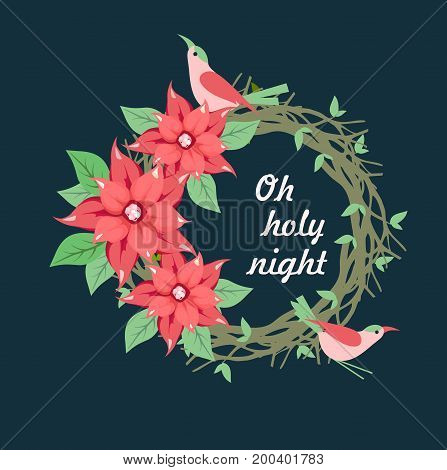 Vector illustration of a Christmas wreath nest of a bird on a black background with the inscription holy night