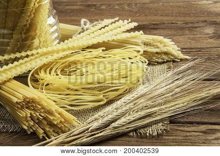 Close of uncooked macaroni