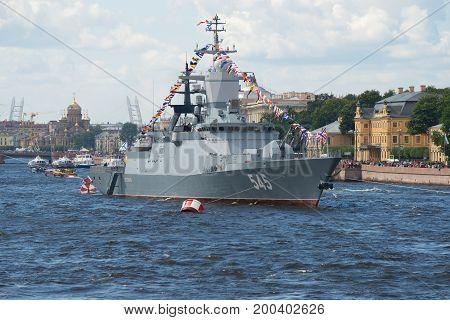 SAINT-PETERSBURG, RUSSIA - JULY 30, 2017: Sentry ship of 2nd rank