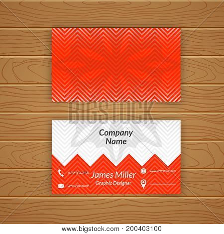 Business card blank template with textured background from zigzag strips. Minimal elegant vector design